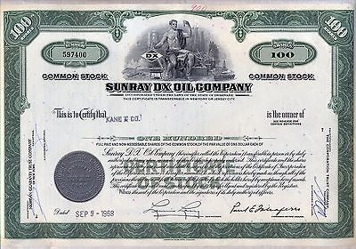 Sunray DX Oil Company Stock Certificate Green