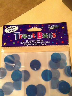 Treat Bags ~ 20 Large BLUE Cello Bags (5 in. x 11.25 in.) ~ Includes 24 Seals