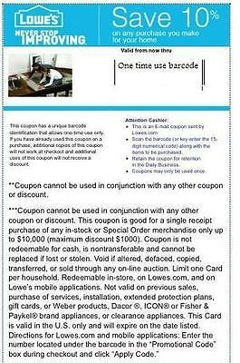 4 Lowes 10% Off Coupons Free Shipping Expires 5/7/15