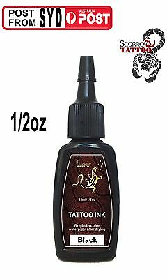 High quality 1 bottle 1/2 oz LizardStar Tattoo ink black Outlining Shading