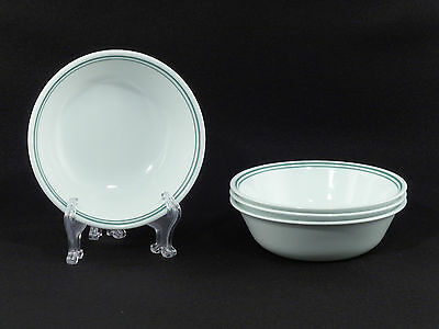 Corelle ROSEMARIE Double Green Stripe CEREAL BOWLS - Set of 4
