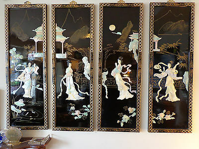 CHINESE BLACK LACQUER & MOTHER OF PEARL HAND PAINTED WALL PANELS MAIDENS GEISHA