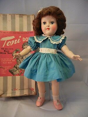 "Ideal Toni P-91 Doll 16"" Vintage in Original Box, Original clothing, & extra PJs"