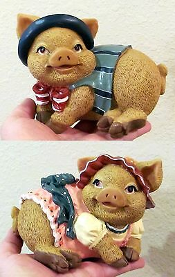 Pair of Hand-Painted Resin Piggy Banks,Gentleman & Lady Pigs, Vintage, EUC!