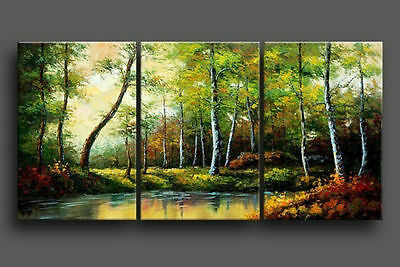 Modern Abstract Huge Wall Art Oil Painting On Canvas 3pcs (No Frame)+Gift