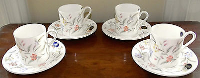 "8-PC Set-Demitasse Cup (4) & Saucer (4)-John Aynsley & Sons ""Forever"" Bone China"