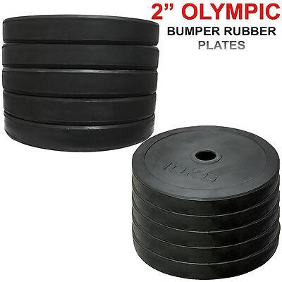 """Olympic 2"""" Rubber Bumper Disc Weight Plates EZ Barbell Bar Strength Training Gym"""