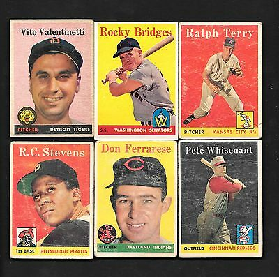 1958 Topps Baseball Lot of (6) Fair - Very Good One Excellent Creasing