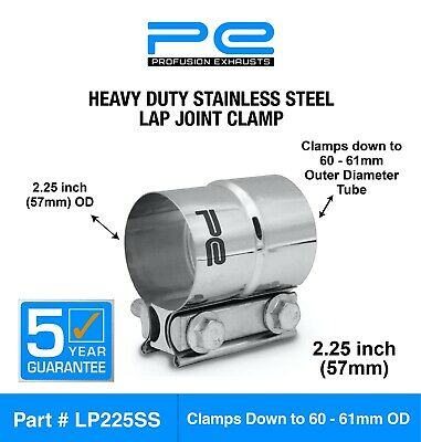 """2.25"""" inch 57mm Stainless Steel lap joint heavy duty exhaust band clamp LP225SS"""