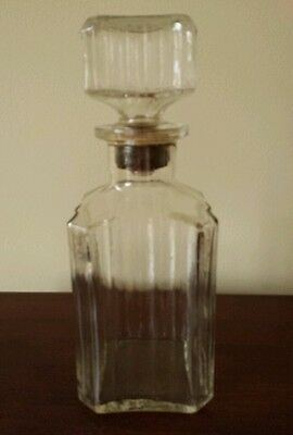 Vintage Liquor Clear Glass Decanter with Cork Top Federal Warning D23 Bottle