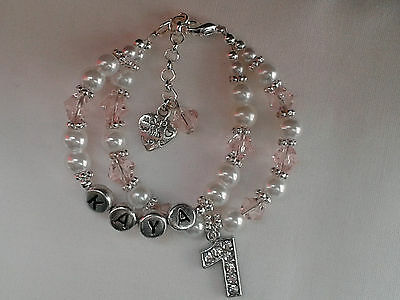 Baby Girl Double Row Personalised First *1st Birthday*Christening Bracelet*Gift