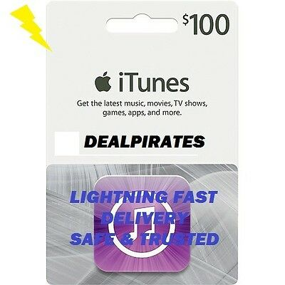 *US APPLE $100 iTUNES GIFT CARD voucher certificate FAST FREE SHIPPING Worldwide