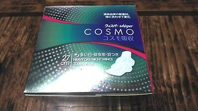 ☀Whisper☀ liquied based 3D Sanitary Napkins COSMO Heavy Days and Night 10 pads