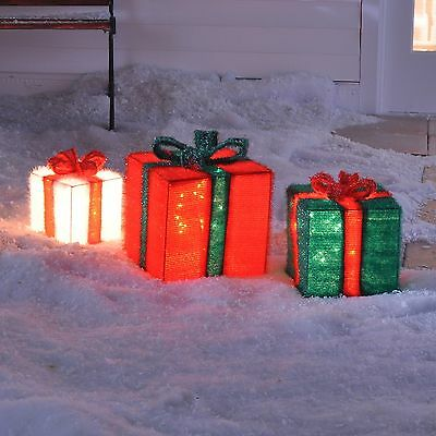 3 Piece Set 3D Soft Tinsel Lighted Christmas Presents Gift Box