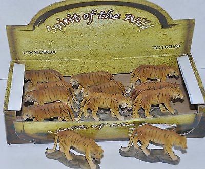 "Bengal Tigers Lot of 12 Mini Statues 3"" x 2"" Display Box Included"