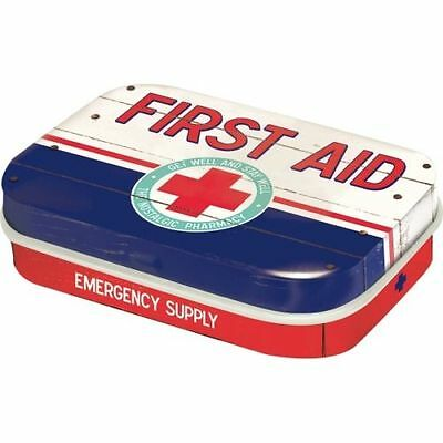 Retro Tin Metal Pill Box 'FIRST AID' BLUE w Mints 6 x 4cm Americana Vintage look
