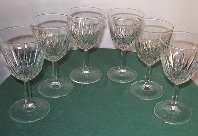 SET OF (6) DIAMANT PATTERN CLARET WINE GLASSES BY CRIS D'ARQUES/DURAND