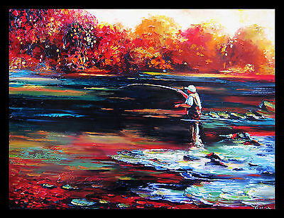 BEAUTIFUL DAY FOR FISHING  ORIGINAL OIL  PAINTING BY IVETA