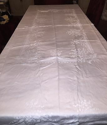 Pure Elegance White Irish Linen Tablecloth w Embossed Floral Pattern 106 x 68