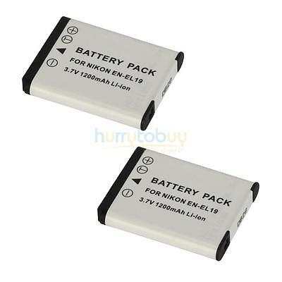 2x Pro EN-EL19 ENEL19 Camera Battery for Nikon CoolPix S2500 S4100 S3100