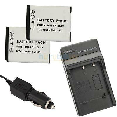 2PCS EN-EL19 Camera Li-ion Battery for Nikon CoolPix S2500 S4100 + Charger