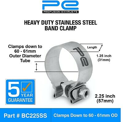 """2.25"""" inch 57mm Stainless Steel Band Clamp heavy duty exhaust band BC225SS"""