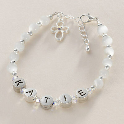 Personalised Christening Bracelet with ANY Name for Girls, Choice of Gift Box.