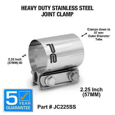 "2.25"" 57mm 304 Stainless Steel Butt Joint Exhaust Band Coupler Sleeve Clamp"