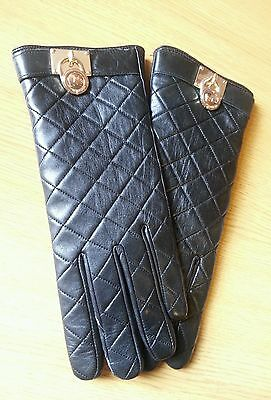 Michael Kors Quilted Leather Hamilton Lock Gloves Size Large