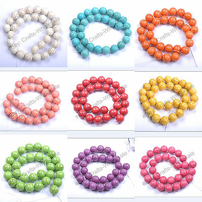 Howlite Turquoise Gemstone Round Loose Beads 16'' 6MM 8MM 10MM 12MM 14MM Pick