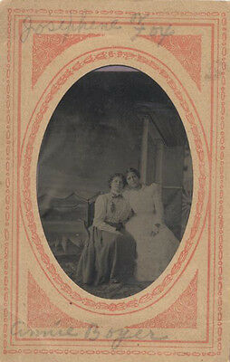 Tintype Portrait Of Two Sisters In Beautiful Dresses W/ Names On Frame