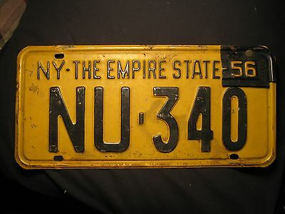 Vintage 1955 New York State License Plate NU-340 w/ 1956 TAB PLYMOUTH