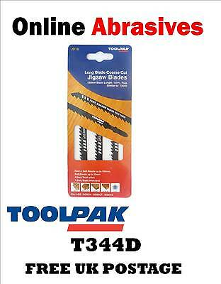 JIGSAW BLADES BOSCH TYPE T344D PACKS OF 3 FAST COARSE CUT (1, 5, 10 or 20 PACKS)