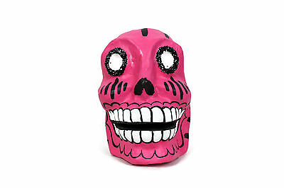 New  Mexican Day Of The Dead Paper Mache Sugar Skull Large Pink Handmade Painted