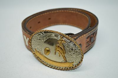 Girl's Country Genuine Tooled Leather Cowgirl Belt With German Silver Buckle 26