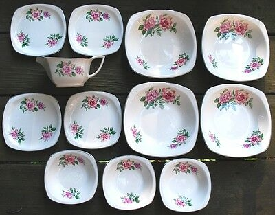PADEN CITY Pottery 1951 American Rose Gold Trim 12 Piece SQUARE Set W Gravy
