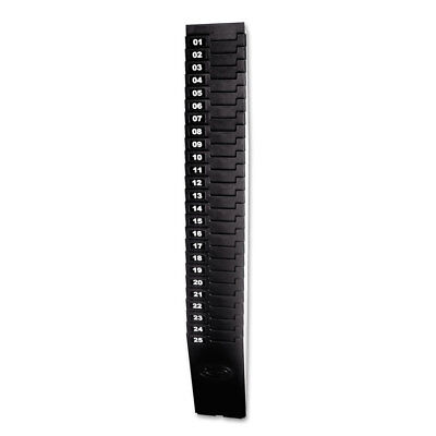 Expandable Time Card Rack, 25-Pocket, Holds 7'' Cards, Plastic, Black