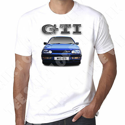 Mk3  Golf Gti Mens 100% cotton T-Shirt  - Personalised number plate available