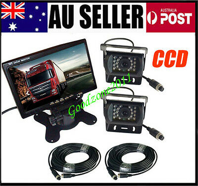 "2 x18 IR CCD Reversing Camera + 4Pin 7"" LCD Monitor Rear View Kit Bus Truck Van"