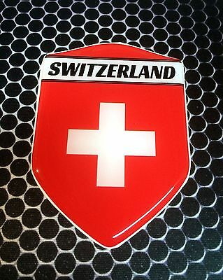 "Switzerland Swiss Proud Shield Flag Domed Decal Emblem Car Sticker 3D 2.3""x 3.3"""