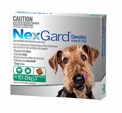 Nexgard for Dogs Flea and Tick Control - 10.1-25KG - Green 3 Pack