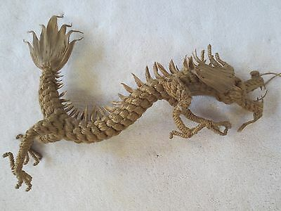 "Vintage Chinese Dragon, homemade from hemp?  NICE!!!  14"" tall"