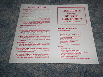 VINTAGE DeSOTO FIRE DOME 8 HIGHLIGHTS for RETAIL SALESMEN 1-PAGE INFO SHEET
