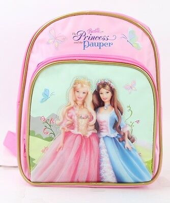 """NEW Barbie princess and the pauper Small Backpack 10"""" Girls School Book Bag Pink"""