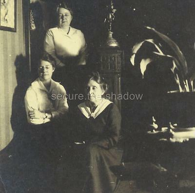 VINTAGE PHOTO: THREE Generations of WOMEN on stairs w EYES CLOSED Christmas 1918