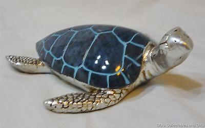 Silver and Coral Blue Sea Turtle Decoration or Paperweight