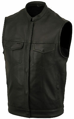 Concealed Carry cowhide Leather Outlaw MC Club & Biker Harley Motorcycle Vest