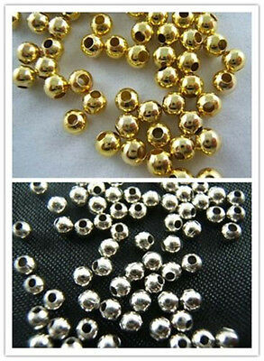 Wholesale Silver/ Gold Plated Round Smooth Spacer Loose Beads Jewelry Making