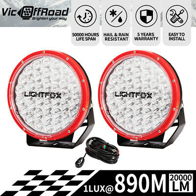 Pair 9inch LED Driving Light Spot Beam Offroad Work Bar Lamp 12V 4WD 4X4 Red
