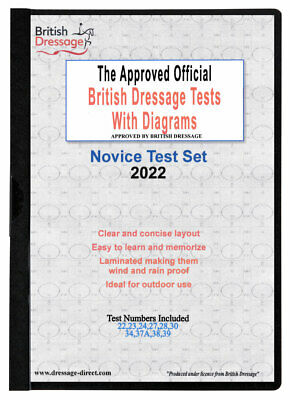2017 NOVICE TEST SET Laminated British Dressage Tests & Diagrams - New 2017 37A